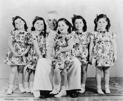 Dionne Quintuplets - Canada - Quintland - May 28, 1934 - Annette Dionne - Cecile Dionne - Yvonne Dionne - Marie Dionne - Emilie Dionne - Corbeil, Ontario - Elzire Dionne - Olivia Dionne - Allan Roy Dafoe Hospital
