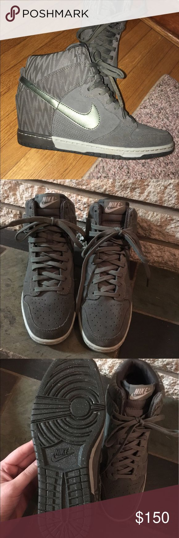 Nike Dunk Sky Hi These Nike Dunks are a pretty rare color combo. Most of the Olive Dunks have white bottoms while these ones are grey & speckled olive sole. I honestly had a hard time finding any online. Purchased in Vegas and never worn. You'll have a hard time finding these puppies!! Reasonable offers welcome :) Nike Shoes Sneakers