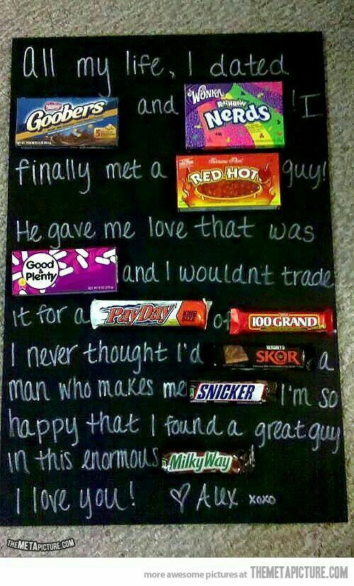 I Love You Candy Poster Board Gifts For A Special Guy