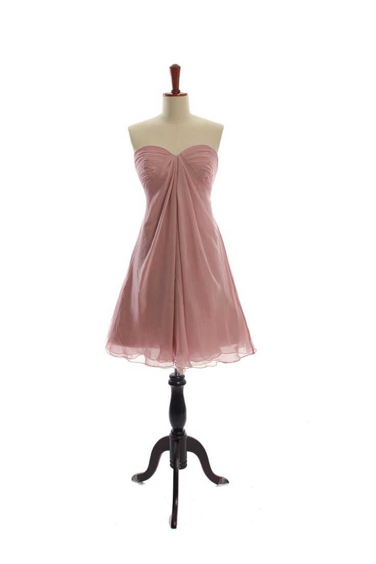 Strapless simple chiffon gown