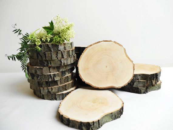 5 4 wood slices bark wood slices tree slices wedding for Wood trunk slices
