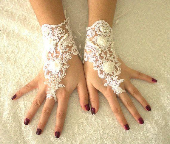 GRATIS SHİP witte bruiloft handschoenen gotische Lace door byPassion
