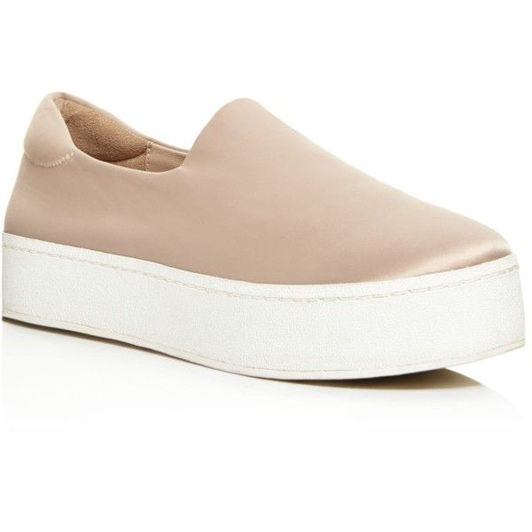 Opening Ceremony Cici Satin Platform Slip-On Sneakers ($210) ❤ liked on Polyvore featuring shoes, sneakers, nude, nude platform shoes, platform shoes, nude sneakers, pull-on sneakers and slip on shoes