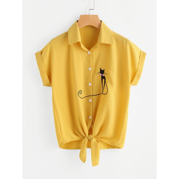 SheIn(sheinside) Cat Embroidered Cuffed Tie Hem Shirt (21 BAM) ❤ liked on Polyvore featuring tops, yellow, short sleeve tops, collared shirt, short sleeve shirts, sleeve shirt and button collar shirt