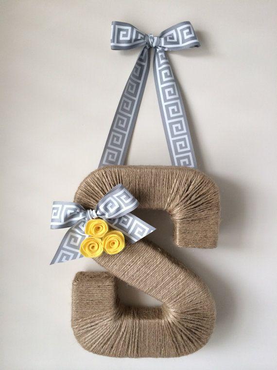 The Original Jute Monogram Wreath.  Greek Key Ribbon. Jute Letter. Twine Letter. Twine Wreath. Door Hanger. Customized wreath. Summer Wreath