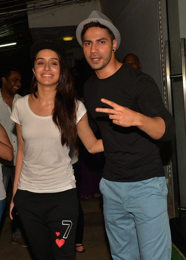 Varun Dhawan with Shraddha Kapoor at special screening of 'Finding Fanny'. #Bollywood #Fashion #Style #Beauty
