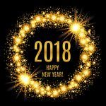 2018 New Year glowing gold background vector image