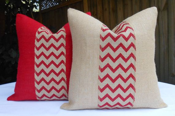 Chevron burlap pillow cover 18x18 red and by LowCountryHome