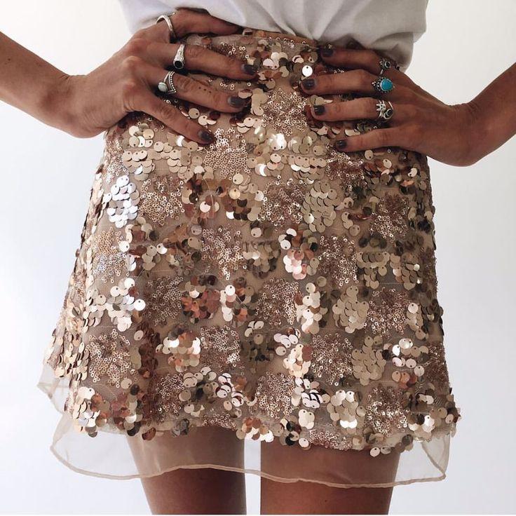 Sequins Gold & Sliver Vintage Skirt