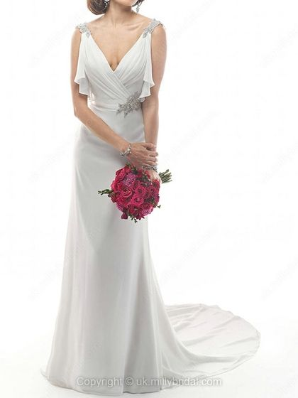 Sheath/Column V-neck Chiffon Court Train Appliques Wedding Dresses -USD$226.09