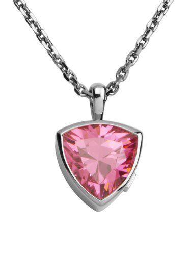 ELLE Jewelry Sterling Silver Pink Cubic Zirconia Triangle Pendant ELLE Jewelry. $205.00