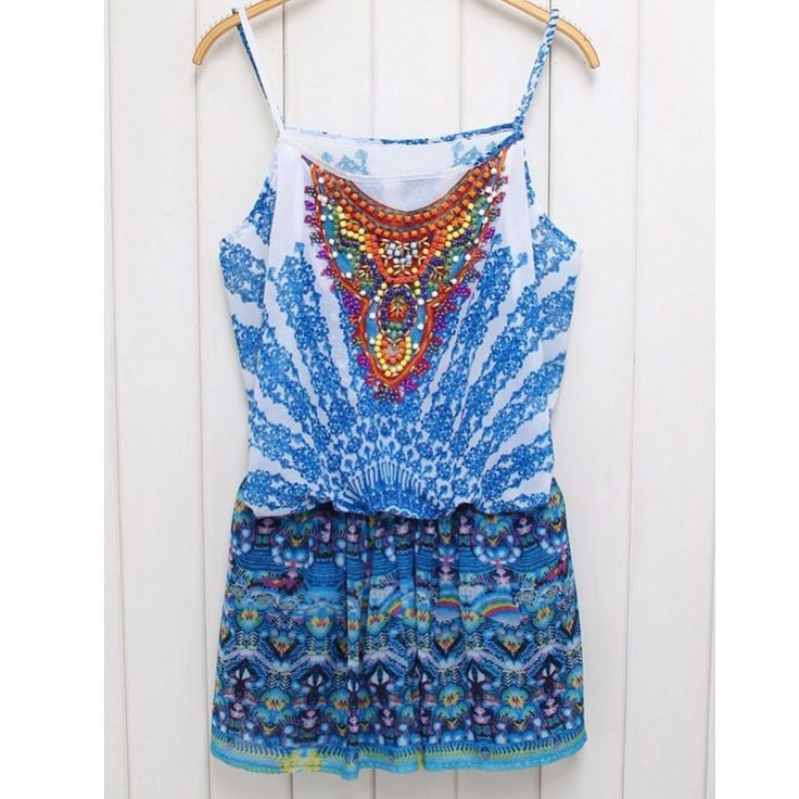Bohemia Style: Beach Wear - Playsuit - RomperColour/s: MultiSKU: Beautiful ethnic print playsuit with colourful beading detail around the bust area and a tie around the back. Perfect for any occasion.