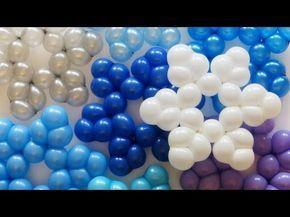 (Balloon snoflakes) Простая снежинка из шаров / Simple snowflake balloon / 260