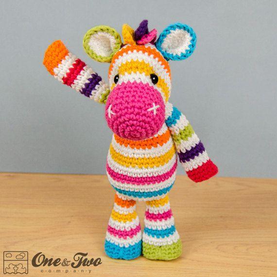 Rainbow Zebra Amigurumi PDF Crochet Pattern by oneandtwocompany