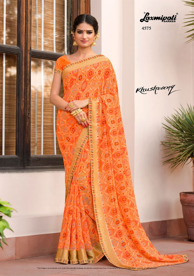Browse this amazing multicolor #georgette_saree and orange rawsilk blouse along with satin printed lace border from #Laxmiaptisarees. #Catalogue-KHUSHRANG, Design Number-4575 #Price - ₹ 1742.00  #KHUSHRANG0317 #Laxmipatisarees