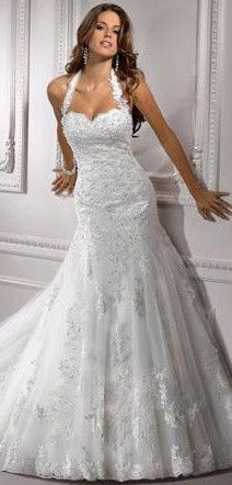 A line Halter Wedding Gown with Tulle skirt & Lace Applique