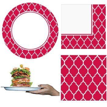 "Creative Converting Sturdy Style Party Pack Paper Plates and Napkins, 18 Plates (10"") and 36 Napkins, Le Vin Rouge Red by Creative Converting. $10.99. From the Manufacturer                Serve it up with Sturdy Style Party Packs from Creative Converting. Strength you need, style you want. Bring a splash of style to the table. Plus, they're soak proof, cut-resistant and strong enough to handle extra helpings of everything. Finally, strength and style all in one plate. Paper..."