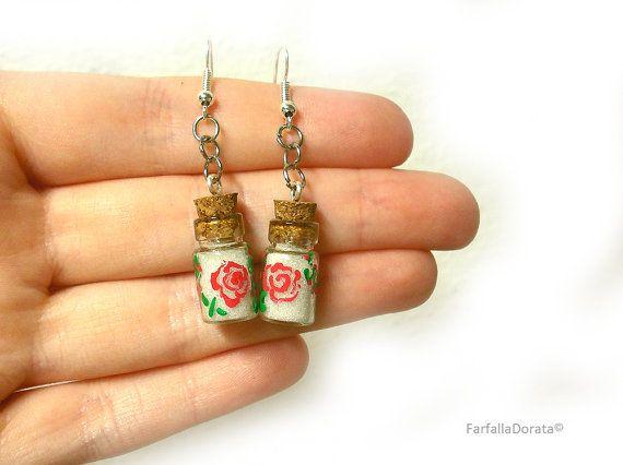 Mini bottle earrings little bottle earrings small earrings