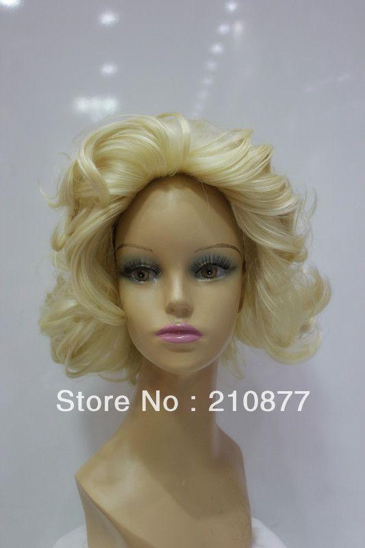 Хиты 2014 продажа срок годности бесплатная доставка натуральные парики Perucas площадкой для безколпачковые волосы короткие волнистые синтетические волосы полные парики