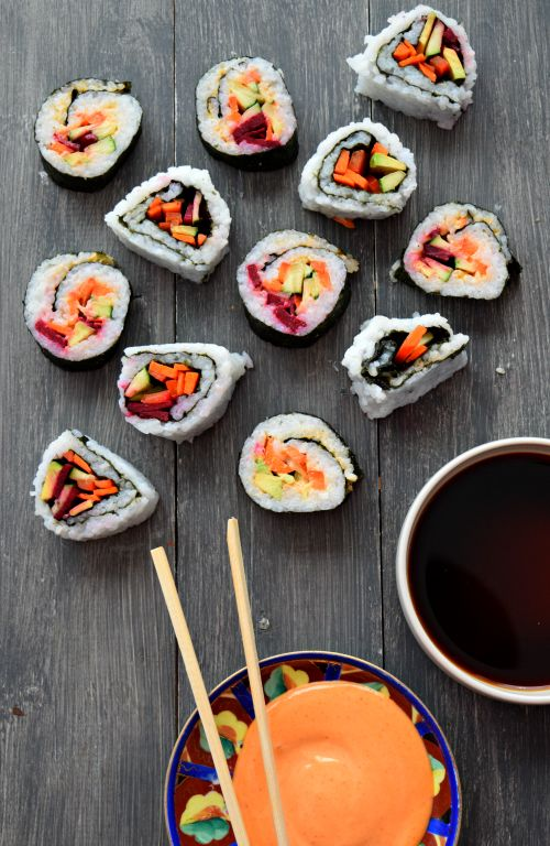 Spicy Mayo Vegetable Sushi (Under an hour with step by step pics!) (Sriracha Mayo)