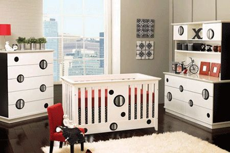 nursery room design, black and white decor.  with a pop of blue or pink depending on the sex of the baby