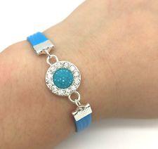 New Jewelry Charm Fashion Gift Round Rhinestone Leather Bracelet Plated Silver