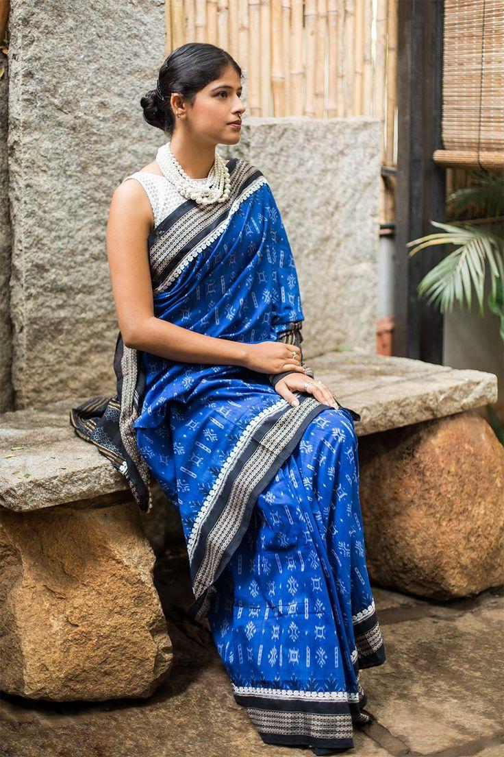 Royal blue Sambalpuri cotton saree with black and lace border #saree #blouse #houseofblouse #sambalpuri #orissa