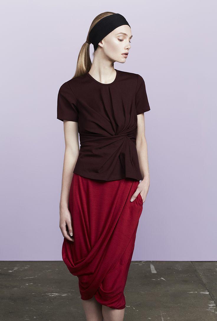 Markus twisted t-shirt worn with Stam long twist skirt
