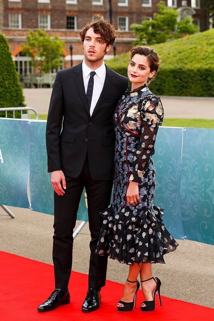 Tom Hughes (Prince Albert) and Jenna Coleman (Victoria) on the red carpet at the press screening for Victoria, August 11, 2016.