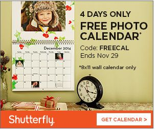 FREE Photo Calendar from Shutterfly {+Shipping} - http://www.livingrichwithcoupons.com/2013/11/free-photo-calendar-shutterfly.html