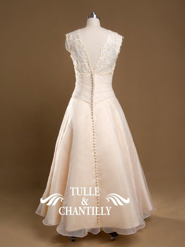 Sparkle-Custom Made Plus Size V-Neck Ankle Length Lace Coral Wedding Gown 2