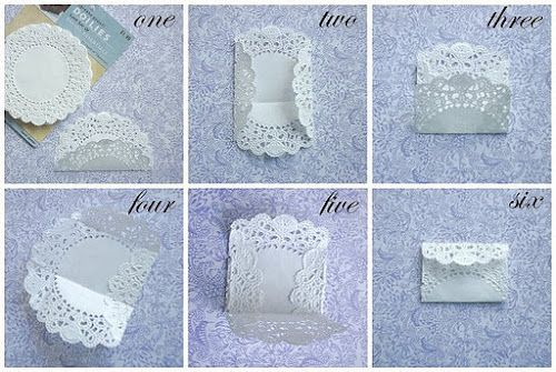 Envelope made from doilies