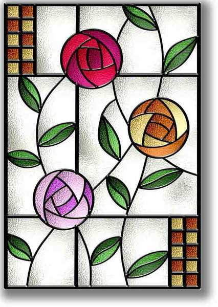 Stained glass flower art images for Simple glass painting designs for beginners