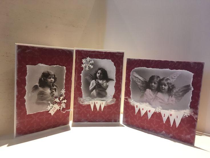 Superenkle julekort med engler vimpler og bomullsnø 2017