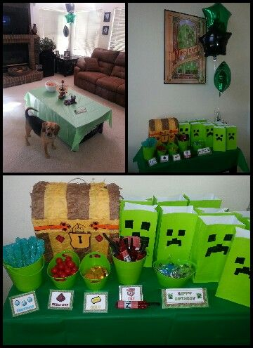 Had The Kids Make Their Own Goodie Bags Afte We Did A Chest Pinata From Party City Poster Wal Mart Bought Green My Son Color Like