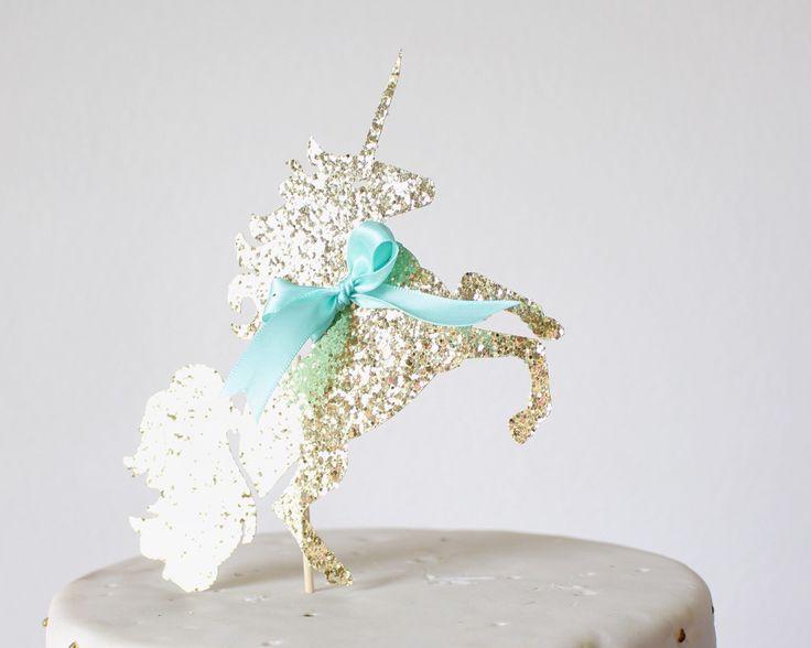 Unicorn Birthday Cake Topper - Rainbow Party - Baby Shower Cake Topper - Gold Glitter Cake Topper - Cake Topper - First Birthday Cake Topper by PoshSoiree on Etsy https://www.etsy.com/listing/286499659/unicorn-birthday-cake-topper-rainbow