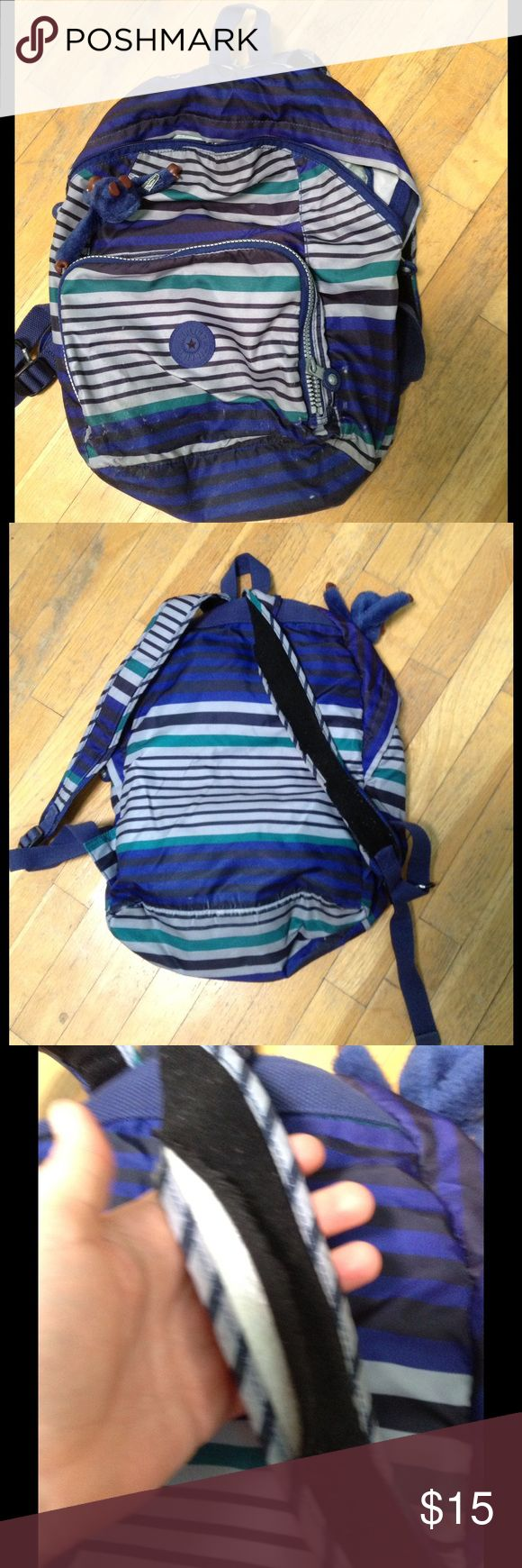 Rare Kipling blue striped backpack! Rare Kipling blue striped backpack!  It has a stain on the top, and the shoulder straps need to be re-sewn.  Time for a new owner to give it more love than I can.😜 Kipling Bags Backpacks