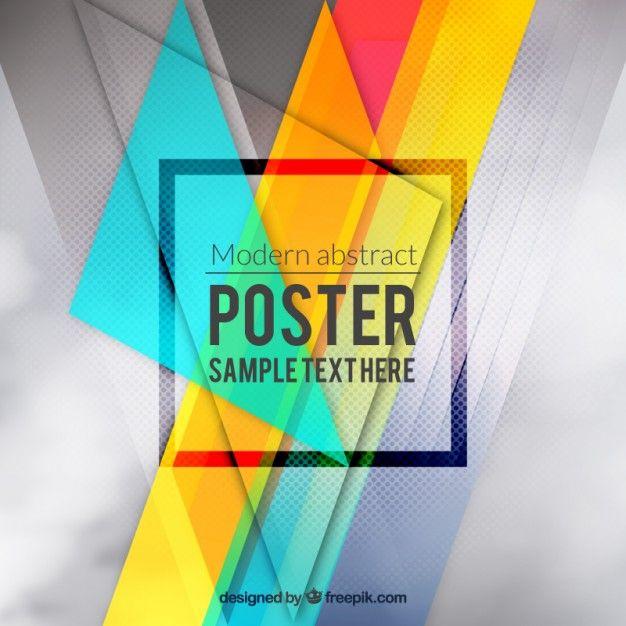 Красочный абстрактный постер Бесплатные векторы