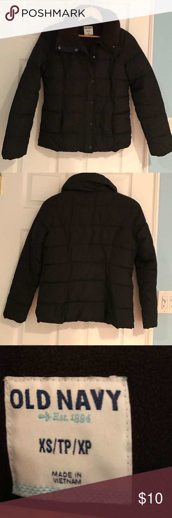 Old Navy women's puffer jacket size XS Old Navy women's puffer jacket size small. In good condition except a few buttons have some scratching to them. Not very noticeable when on. Jacket is both zip up and buttons. Old Navy Jackets & Coats Puffers