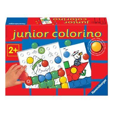 Ravensburger Junior Colorino  Met dit leuke spel Junior Colorino van Ravensburger leren kinderen spelenderwijs de basiskleuren onderscheiden en ordenen. Het spel werd speciaal voor kinderen vanaf 2 jaar ontwikkeld en bevat extra grote gekleurde stenen.  EUR 20.99  Meer informatie