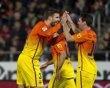 GRA243. PALMA DE MALLORCA, 11/11/2012.- El defensa del Barcelona Gerard Piqué (i) celebra uno de los goles de su equipo junto al delantero argentino Leo Messi (d), durante el partido frente al Mallorca. 11.11.12