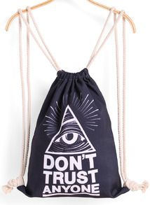 Black Eye Triangle Print Backpack