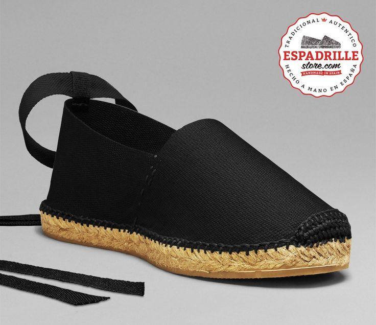 Espadrille Noir cousu noir avec boucle en arrière noire | Espadrillestore Inc.