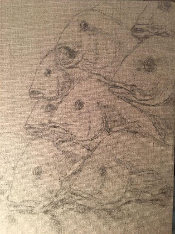Drawing on canvas - by Swedish author and artist A.C. Efverman. #acefverman #swedish #authors #artists #drawings #art #fish #artworks #konst #teckningar #författare