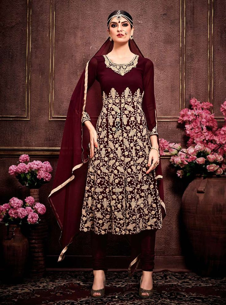 Buy Maroon Faux Georgette Kameez With Churidar 91225 online at lowest price from huge collection of salwar kameez at Indianclothstore.com.