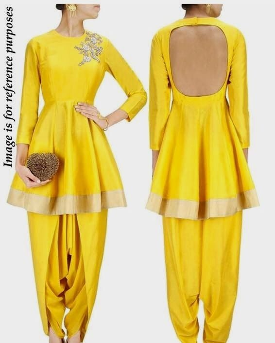 We are doing the summer with this mango color Top: bangalorian silk frock style top with max - 42 bust size /non padded / back open in 3.5 meter flare skirt  Bottom - bangalorian silk with elastic waist or string waist option semi dhoti style max size 42  Work - shoulder work with handwork Butta and sequins work /perfect lace on the flare Dupatta - no   Any color can be made  It will be complete stitched Delivery time - 3/4 days  Price : 3600 INR Only ! #Booknow  For Booking Order Call / DM…