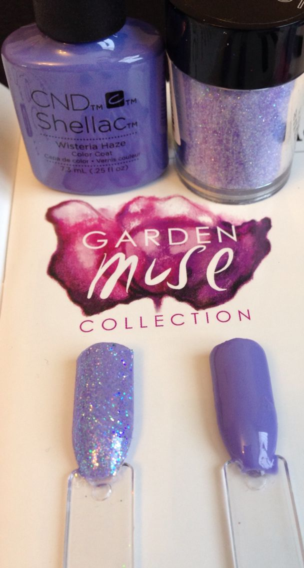 CND Shellac Wisteria Haze and baby blue lecente glitter
