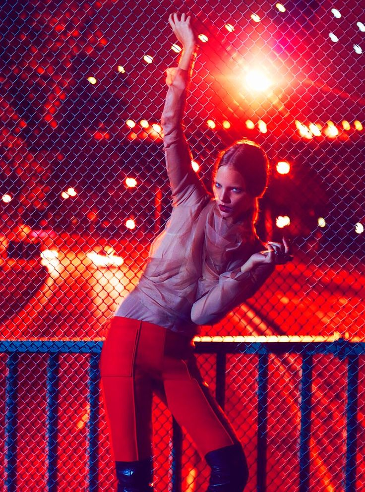 Colours and long exposure <3 Marloes Horst Takes the Night in Thomas Whitesides Elle US Shoot