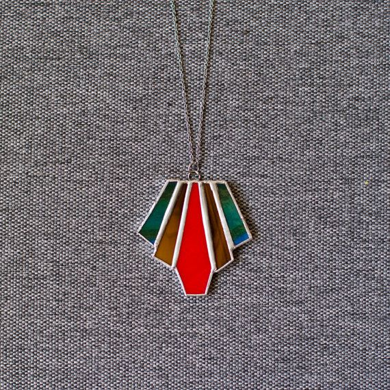 Art Deco Stained Glass Necklace Pendant by GlassCityLeadworks