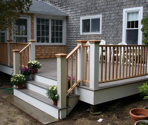 White posts w natural handrails but black spindles for Painted deck pictures